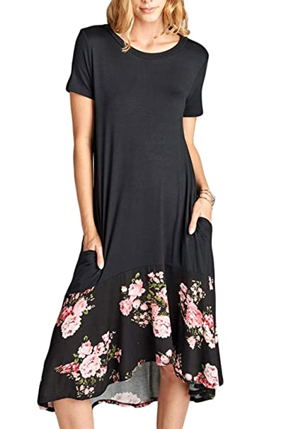 5f58e3c26e27 Image Unavailable. Image not available for. Colour: Ancapelion Women's  Casual Short Sleeve T Shirt Dress Loose Midi Dress with Pocket Black Floral  Small