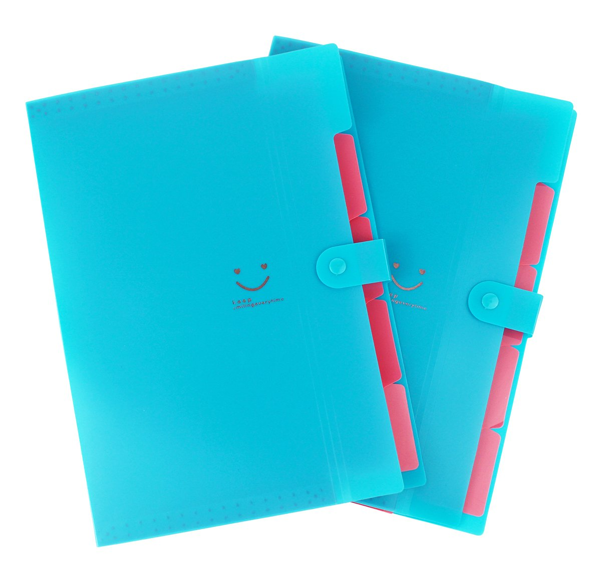 File Folders Expanding 5 Individual Pockets for Organizing and Storing Letter Size Set of 2,Snap Closure for School and Office-Fluorescent Blue