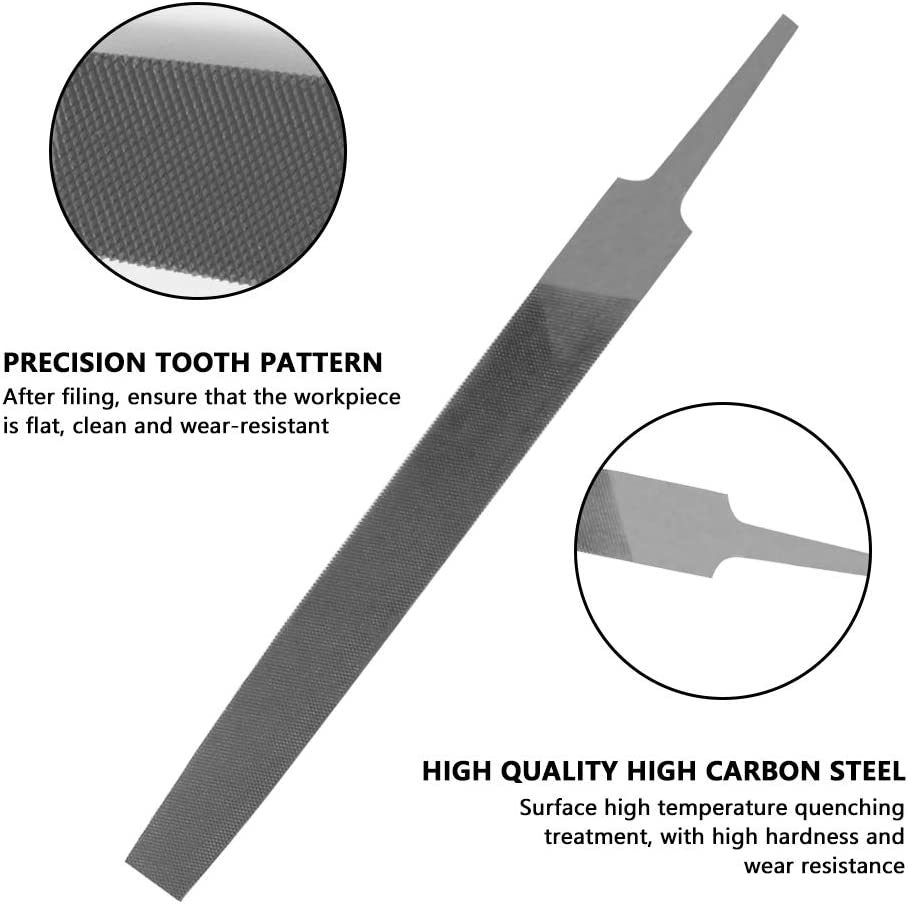 Metal etc. Sharpening Made of High Carbon Steel AIPRODA Flat Medium Cut File 6 Length Double Cut Teeth Hand File Without Handle Suitable for Wood
