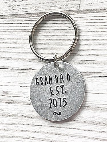 Personalised Grandad Keyring Hand Stamped Key Ring Handmade