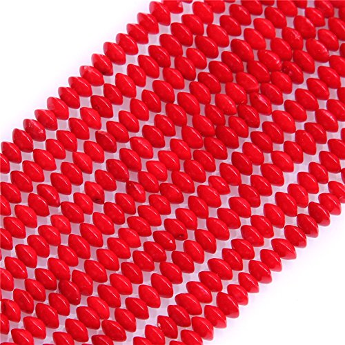 (Red Coral Beads for Jewelry Making Gemstone Semi Precious 2x4mm Rondelle 15