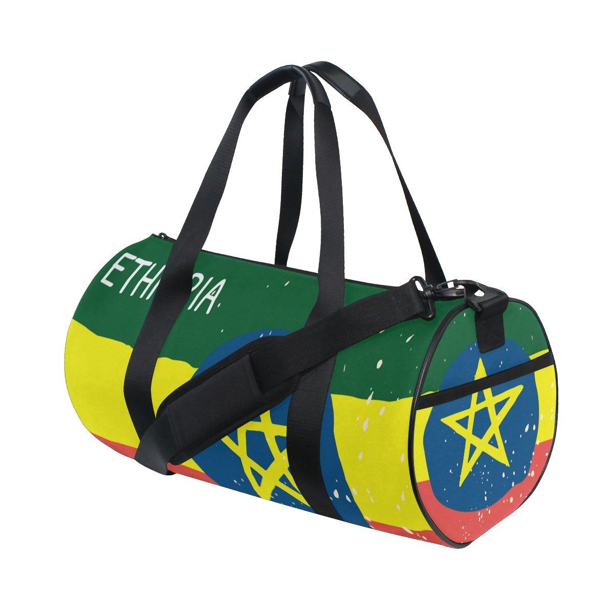 Distressed Ethiopia Flag Travel Duffel Shoulder Bag ,Sports Gym Fitness Bags