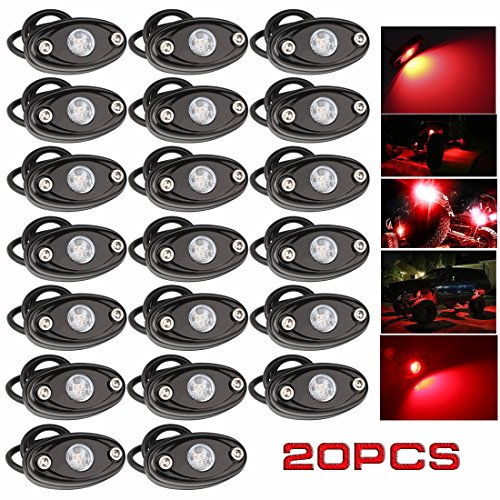 (LEDMIRCY LED Rock Lights Red Kit for JEEP Off Road Truck ATV SUV Car Auto Boat High Power Underbody Glow Neon Trail Rig Lights Underglow Lights Waterproof Shockproof(Pack of 20,Red))