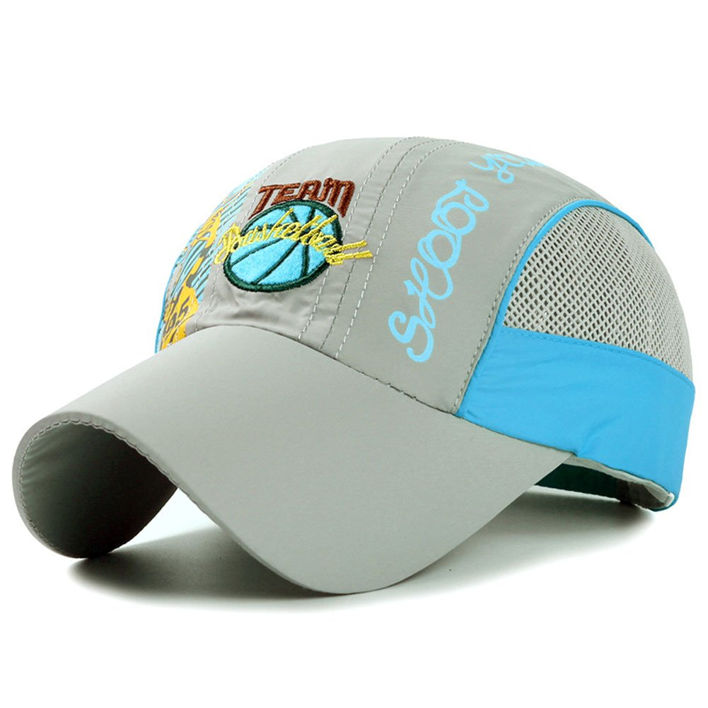 Kids Quick Drying Sun Hat Outdoor UV Protection Baseball Caps for Boys Gray