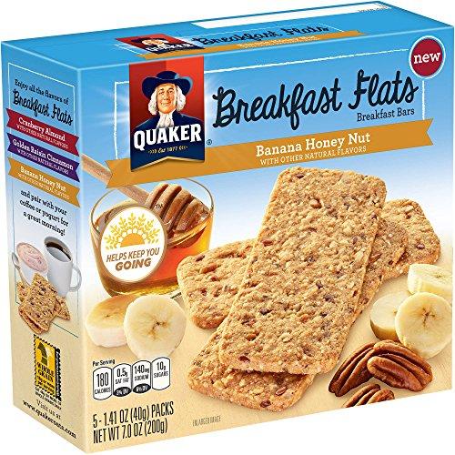 Quaker, Breakfast Flats, 5 Count (1.41oz Each), 7oz Box (Pack of 4) (Choose Flavor) (Banana Honey Nut)