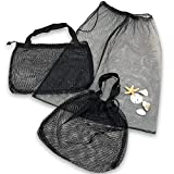 Beach Tote - Gym Bag - Set of 3 with 2 Sizes - Mesh Urban Design for Multi Use