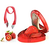 H&B LIFE Simply Strawberry Slicer ,Good Grips Easy-Release Strawberry Huller and Tomato Potato Corer,Strawberry Stem Remover,Red