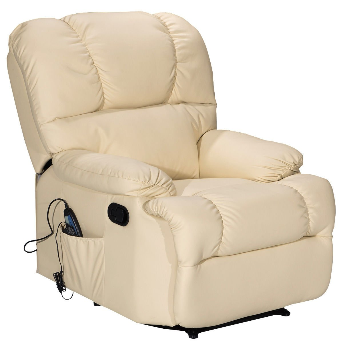 Giantex HW52719BE Sofa Heating Set and 8 Vibrating Modes, Ergonomic Full Body Leather Massage Chair Recliner with Control for Home, Living Room (Beige) by Giantex