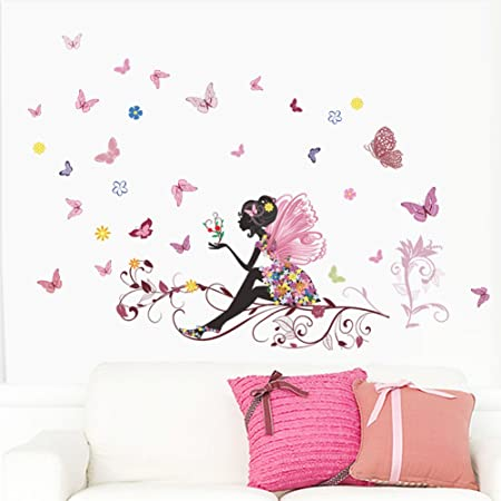 Fairy Pink Butterfly Wall Art Door Stairs Living Room Bedroom Decor Woman  Teenager Baby Girls Kids