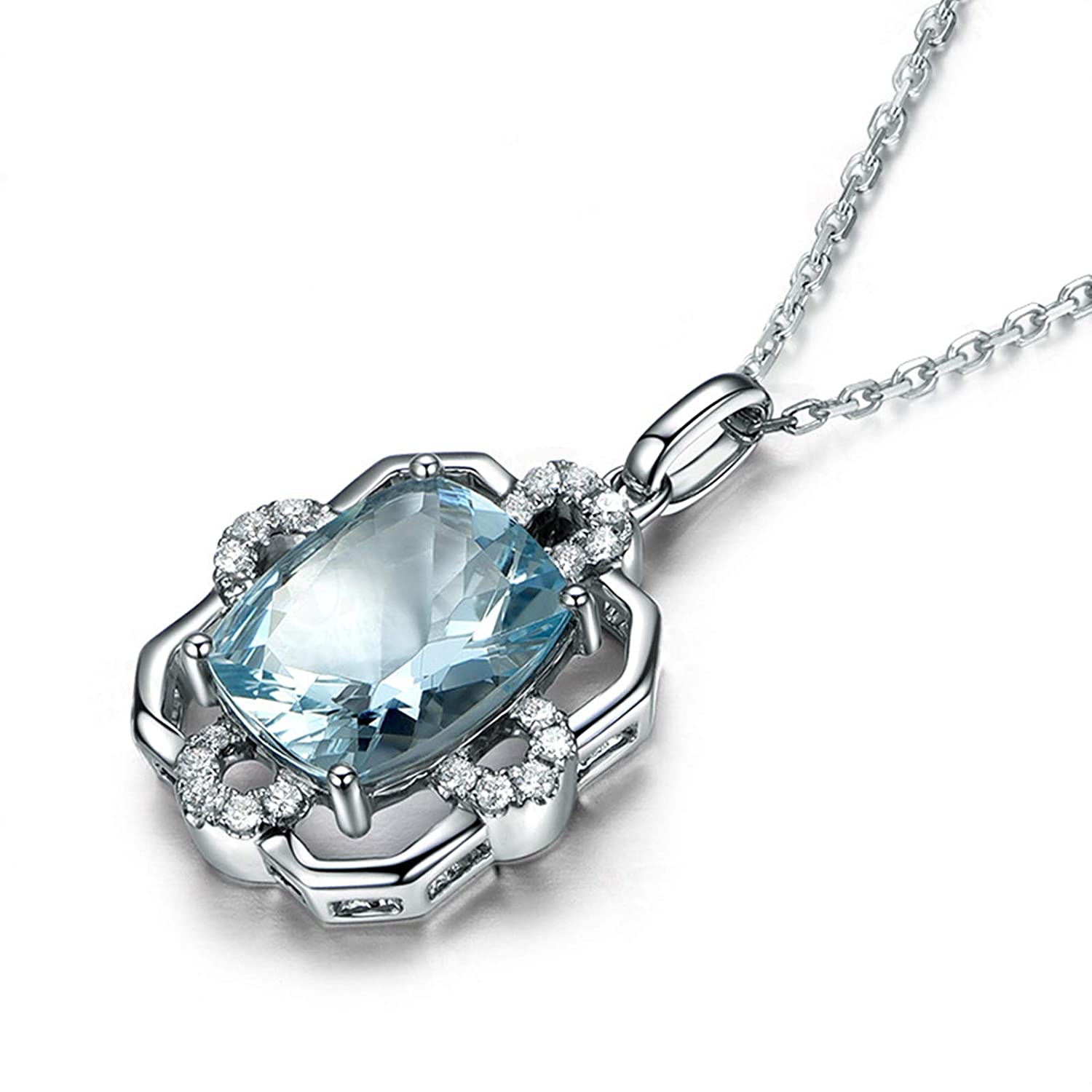 KnSam Silver Chains Jewelry Sterling Silver Necklace with Pendant Topaz Oval Cut 8x6MM