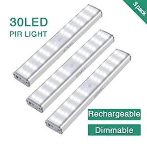 30 LED Motion Sensor Closet Light,Zora Dimmable 1500mAh USB Rechargeable Kitchen Lights Battery Operated,Wireless Portable Stick on Under Cabinet Lights for Counter Stair Hallway 3pack