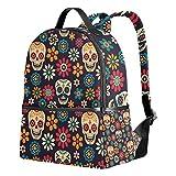 Sugar Skull Dia De Los Muertos Unisex Rucksack Canvas Satchel Casual Daypack ,School College Student Backpack