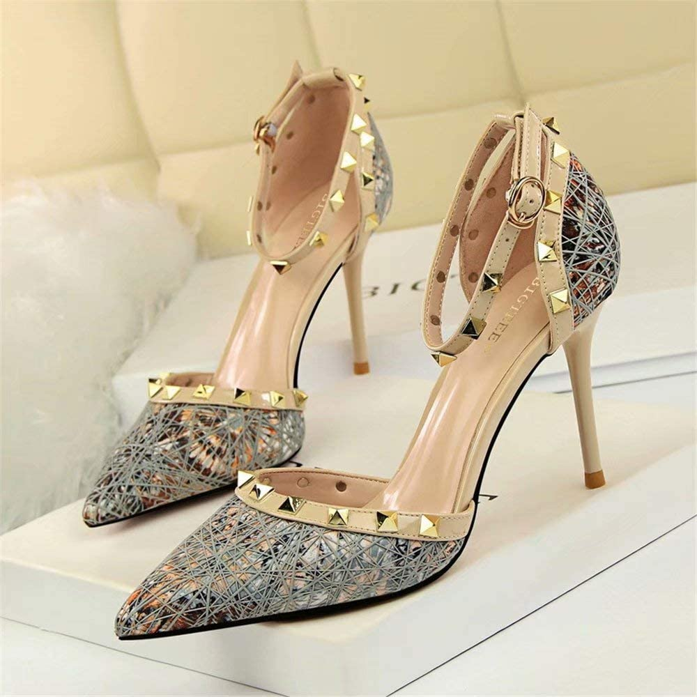 1 Women Rivets Studs Strap Point Toe Slim High Heel casual party Shoes