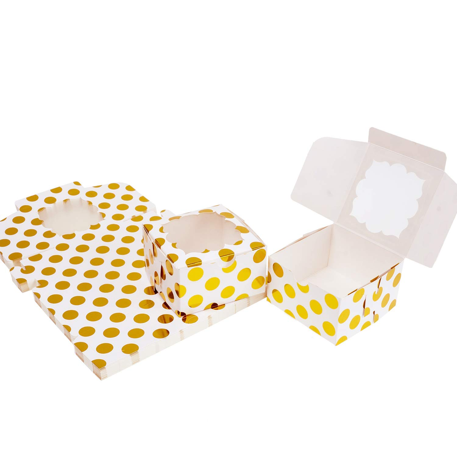 Aekopwera 30 Pack White Bakery Boxes with Window 4x4x2.5 inches, Pastry Boxes Gold Polka Dots Dessert Boxes Treat Boxes for Gift Giving
