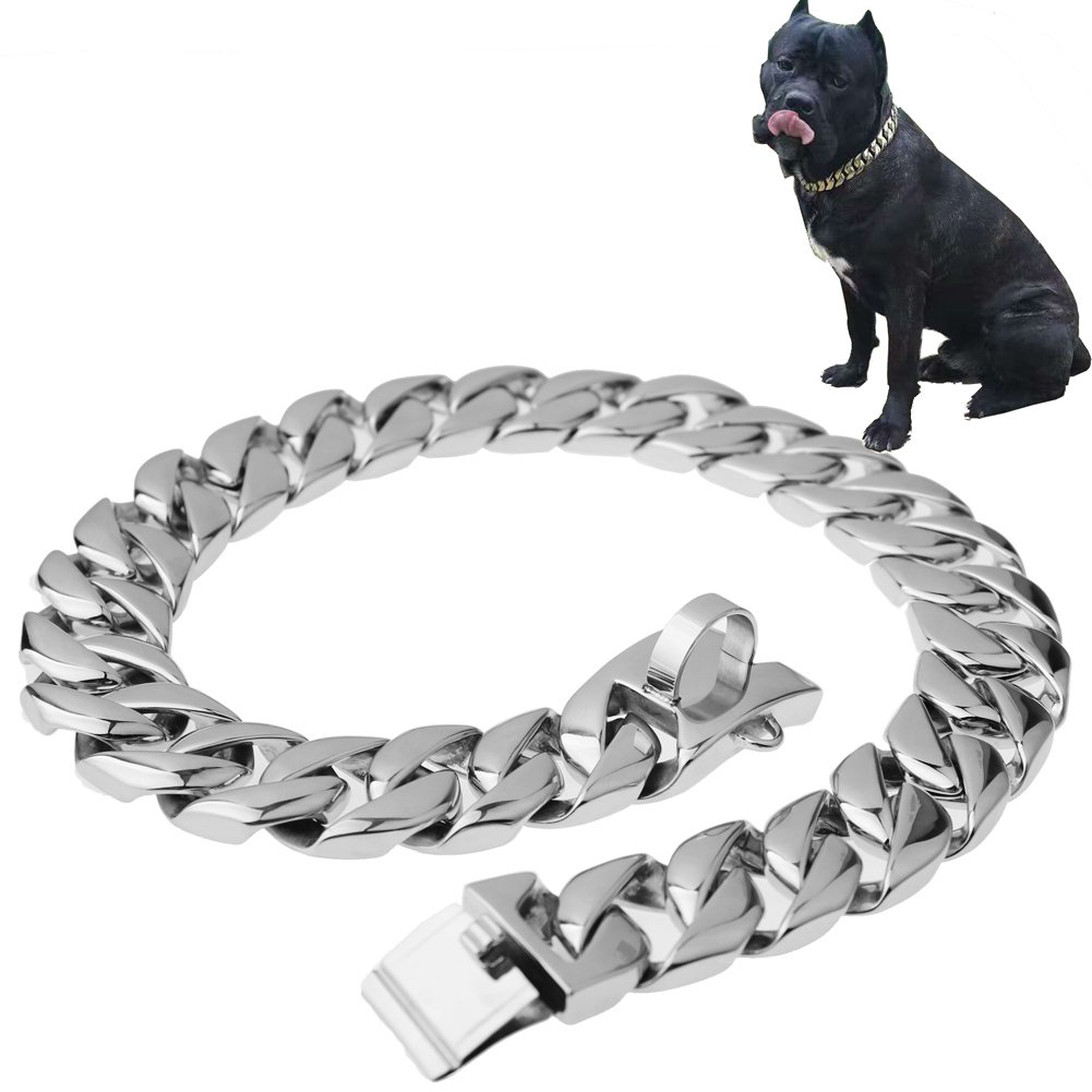 W&W Lifetime Stainless Steel Training Chain Pitbull Pet Dog Choke Collar, 30mm Wide, 680 lbs, 25.59Inch, Silver