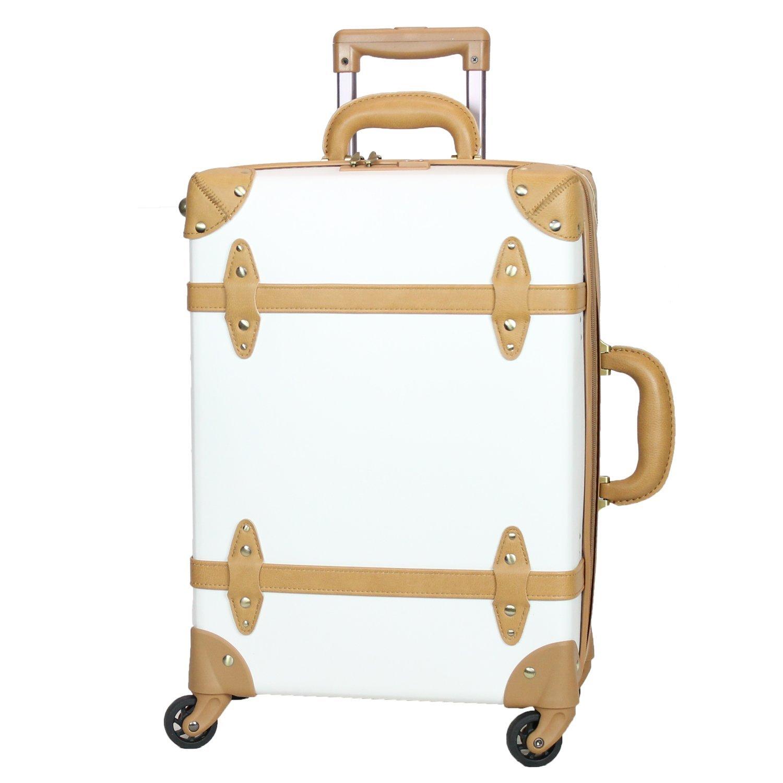 MOIERG(モアエルグ) 軽量 キャリーバッグ 容量UP YKK使用 キャリーケース スーツケース 3年保証 B06XJ1QTMC M|ホワイト/ベージュ ホワイト/ベージュ M