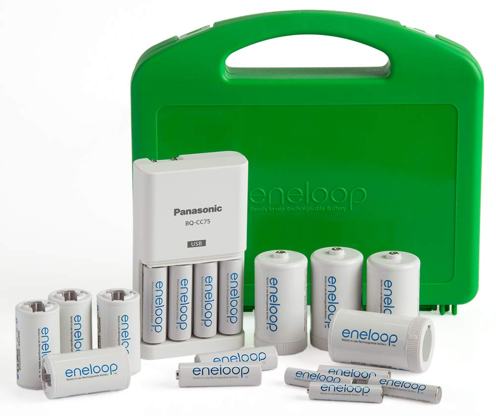 Panasonic K-KJ75MC64ZA eneloop Power Pack 6AA, 4AAA, 4 C Adapters, 4 D Adapters, ''Advanced'' Individual Battery Charger with USB Port and Plastic Storage Case