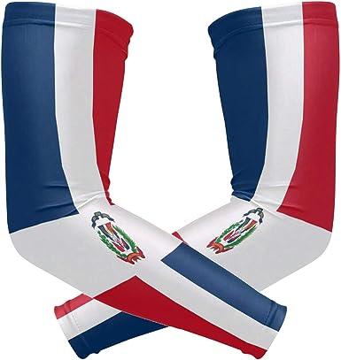 ZZKKO República Dominicana bandera de enfriamiento mangas brazo cubierta protección solar UV para hombres mujeres correr golf ciclismo brazo mangas 1 par: Amazon.es: Ropa y accesorios