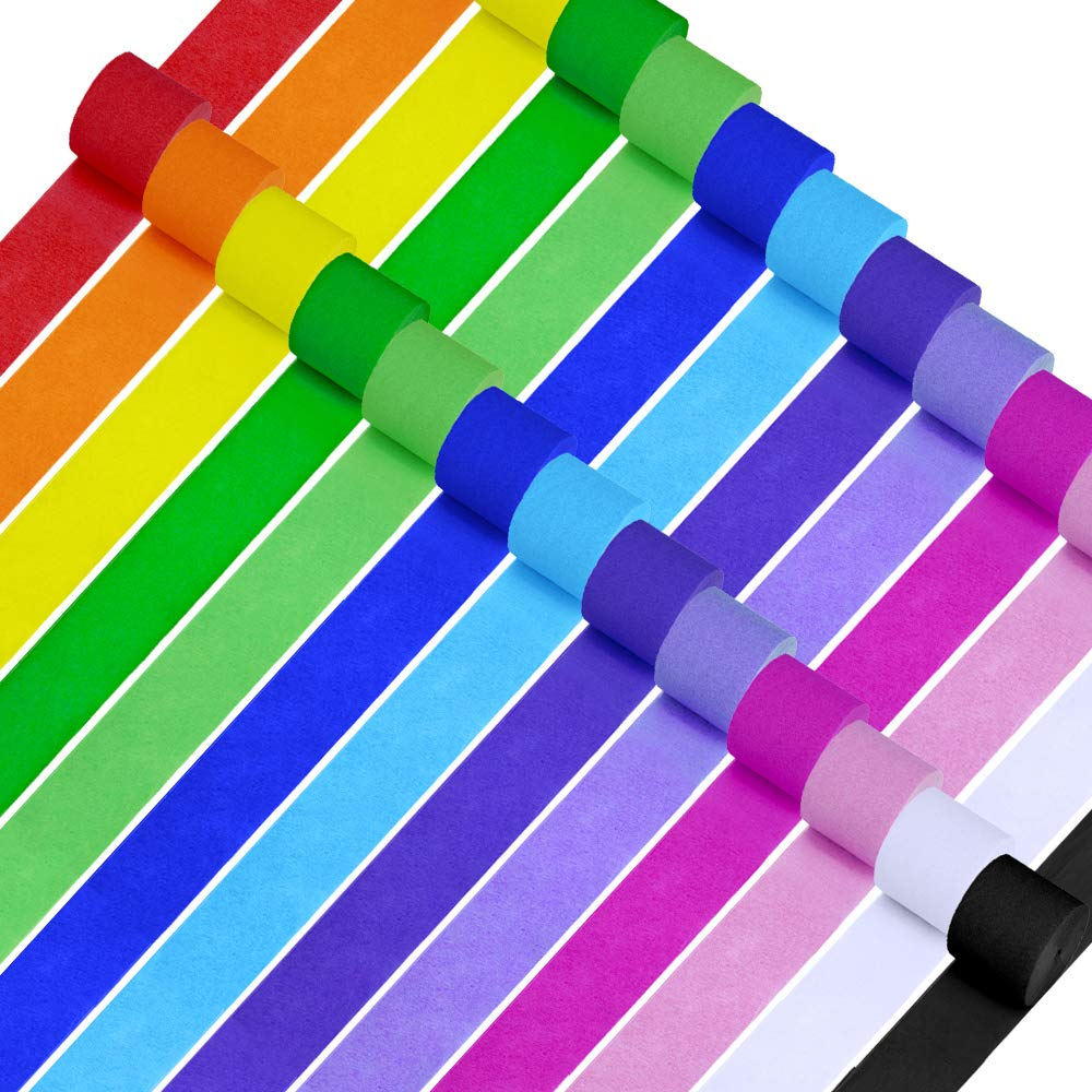 """26 Rolls 710 Yard Party Streamers Rainbow Streamers Photo Booth Backdrop Decorations Red Green Blue White Black Crepe Paper Decorative Streamers 1.8"""" W x 27 Yard/roll for Birthday Holiday Mexican Festival Party Decor"""