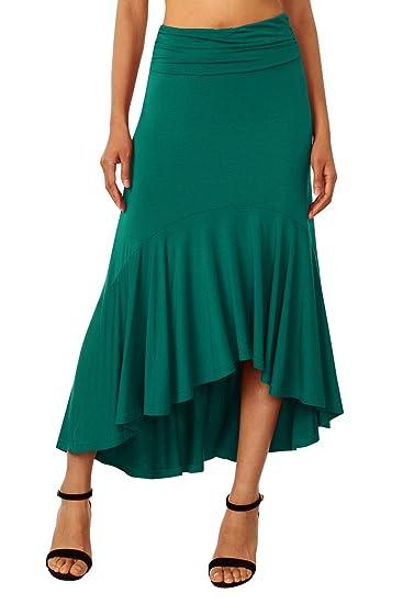 nouveau style 9f7d8 8e61a DJT Femme Skirt Midi Uni Asymetrique Mi Longue Élégant Jupes Plissée Longue  Jupe
