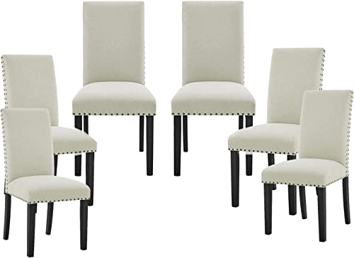 Elegant Dining Chairs Set of 6 Fabric Living Chair Modern Dining Side Chair w/Wood Legs as Leisure Chair