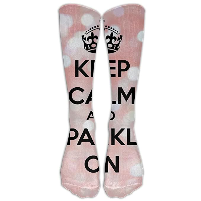 b382a93265b High boots crew keep calm and sparkle compression socks comfortable long  dress for men women clothing
