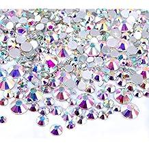 Zealer 2mm - 6mm Resin Crystal AB Round Nail Art Mixed Flat Backs Rhinestones Gems, M1 - 30, Mix Size, 450 Piece