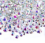 Arts & Crafts : Zealer 2mm - 6mm Resin Crystal AB Round Nail Art Mixed Flat Backs Rhinestones Gems, M1 - 30, Mix Size, 450 Piece