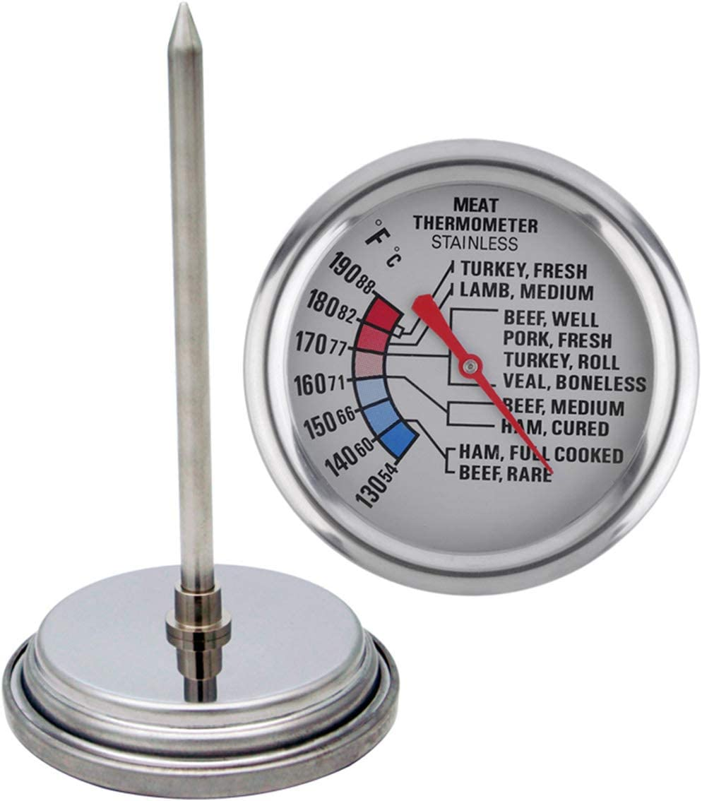 Blacksail Kitchen Analog Meat Thermometer for Grilling Smoking Oven Safe Stainless Steel 2 3/4-Inch Dial (Stainless Steel)