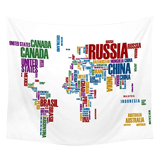 afbaby Mapa del Mundo Tapiz Mapa de Alta definición Tela ...