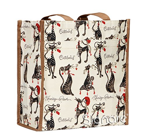 (Signare Tapestry Black and White Stylish Foldable Reusable Shopper Shopping Bag in Marilyn Robertson Catitude (SHOP-CUDE))