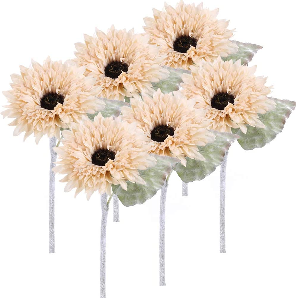 XHXSTORE 6Pcs Artificial Sunflower Bouquet Fake Silk Sunflower Flowers Fuax Floral Table Centerpieces Indoor Outdoor Wedding Home Office Decor Festive Furnishing Christmas Halloween(White)