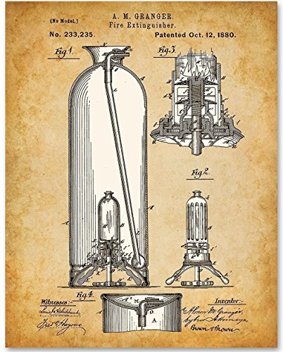 Fire Extinguisher - 11x14 Unframed Patent Print - Great Gift for Fireman ()