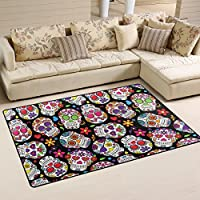LORVIES Day Of The Dead Sugar Skull Background Area Rug Carpet Non-Slip Floor Mat Doormats for Living Room Bedroom 60 x 39 inches