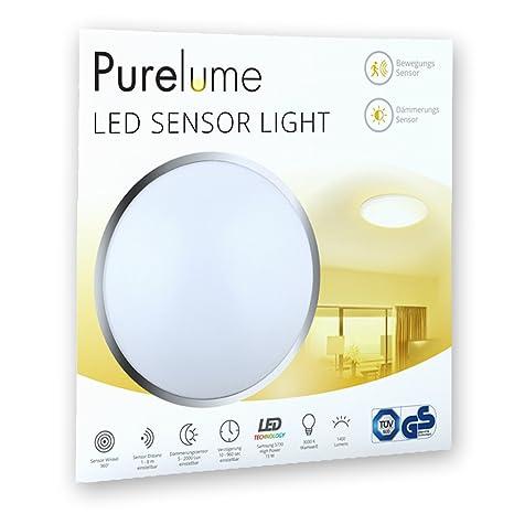 Lámpara de techo LED con sensor Purelume con detector de movimiento y sensor de luz 15