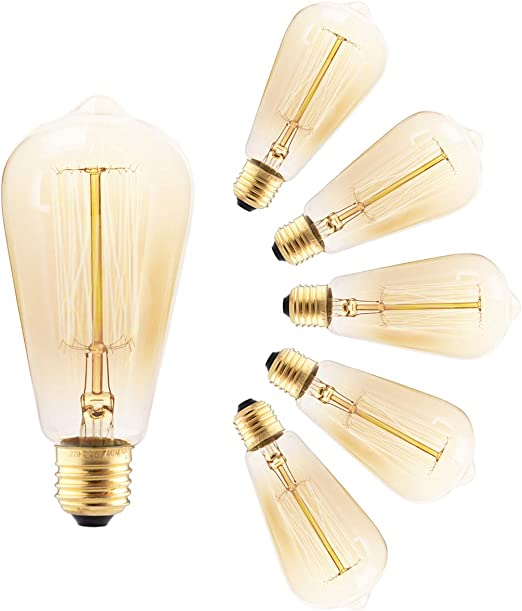 G80 Edison Screw Bulb 60w by Brightfour Decorative Spiral Filament Bulbs Soft Warm White 2700K Pack of 2 Dimmable Vintage Light Bulbs E27 Screw