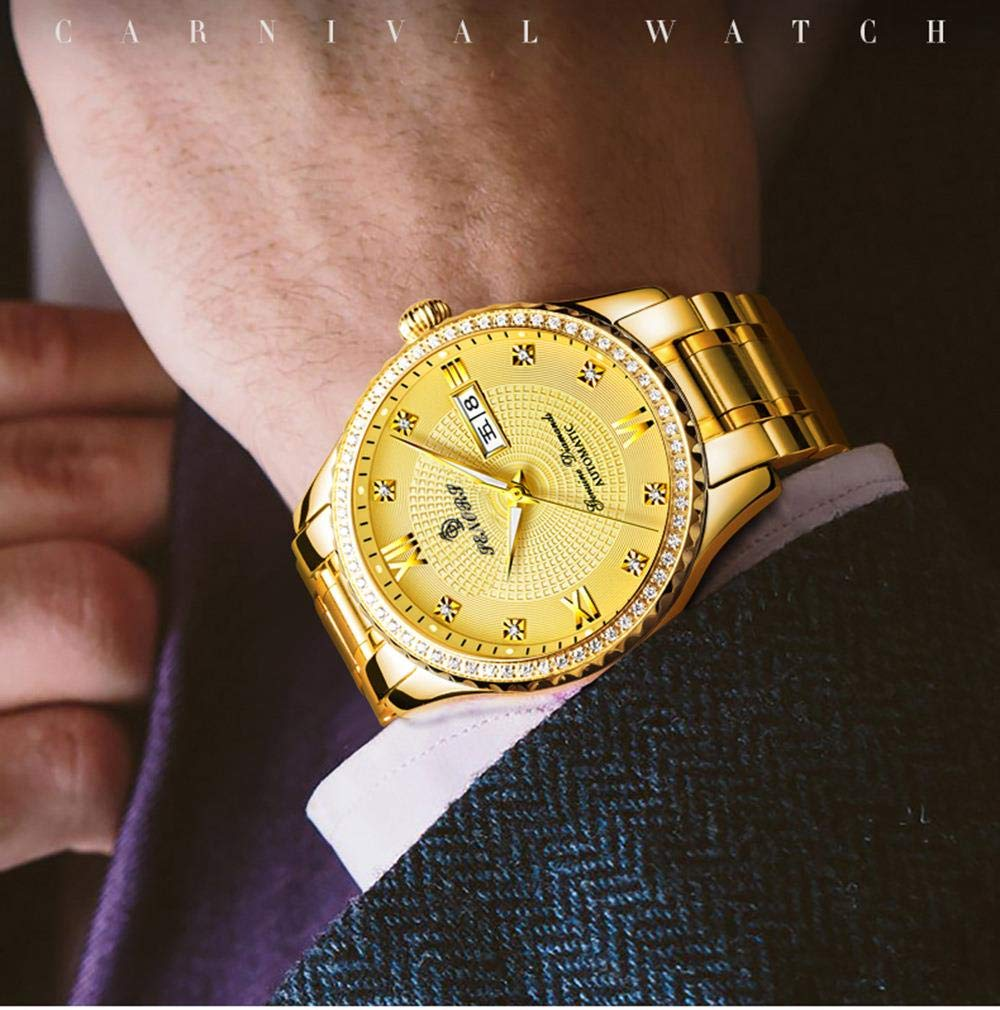 HAONB Herrklockor automatisk mekanisk klocka dubbel kalender lysande vattentät modeklocka Gold Belt Black