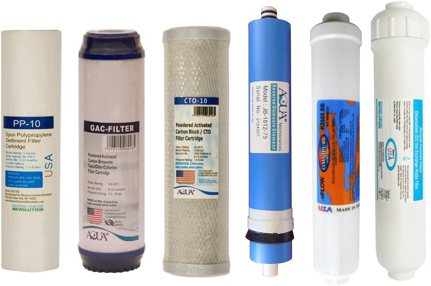 Reverse Osmosis Replacement Filter Set RO Cartridges 4 stage w// 75 GPD Membrane