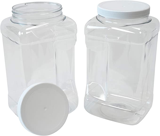 1-12 Multi Listing 1500ml Square Round Plastic Jars with Domed Caps