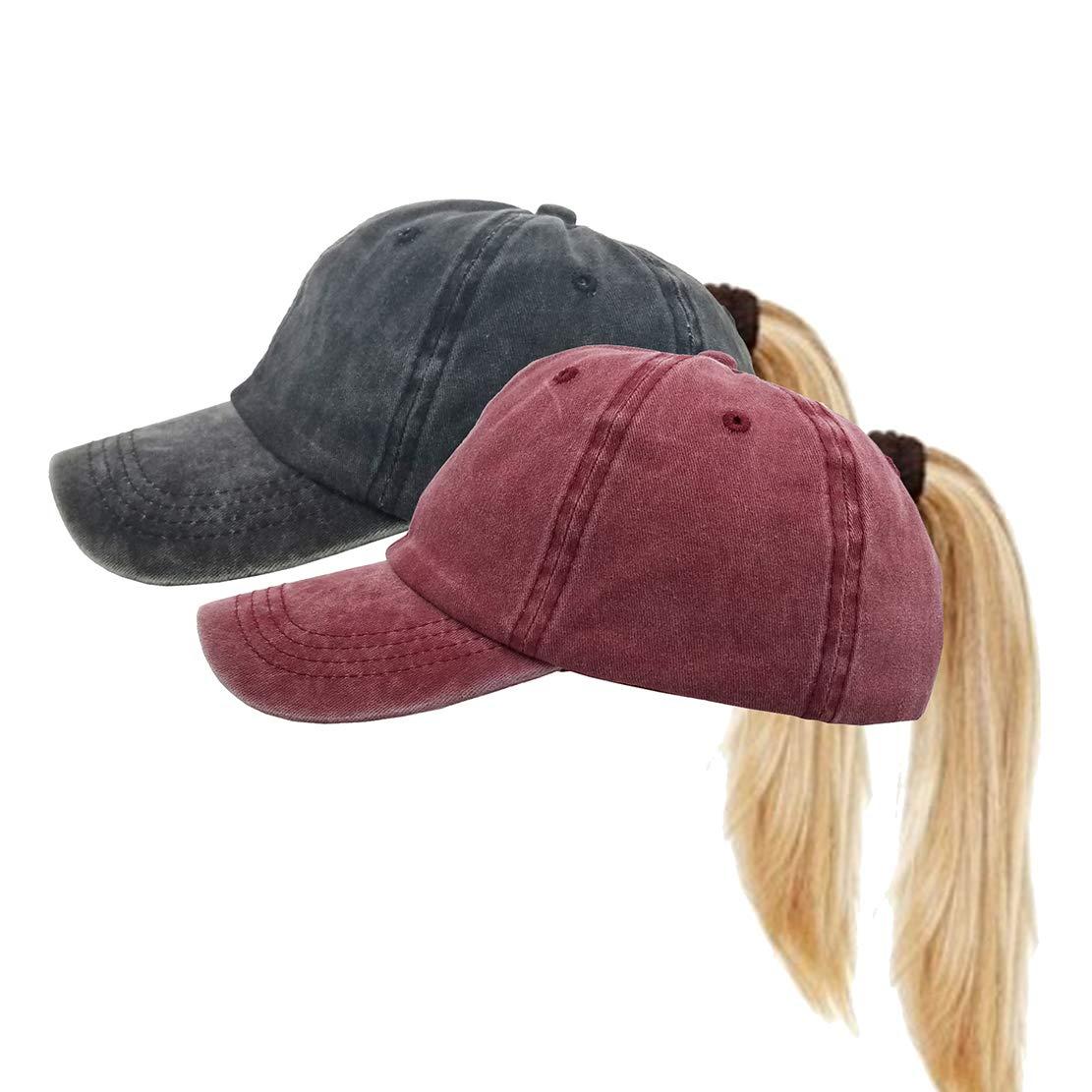 Distressed Ponytail Hats Pony Ball Caps Baseball for Women (Black+Burgundy) by Eohak