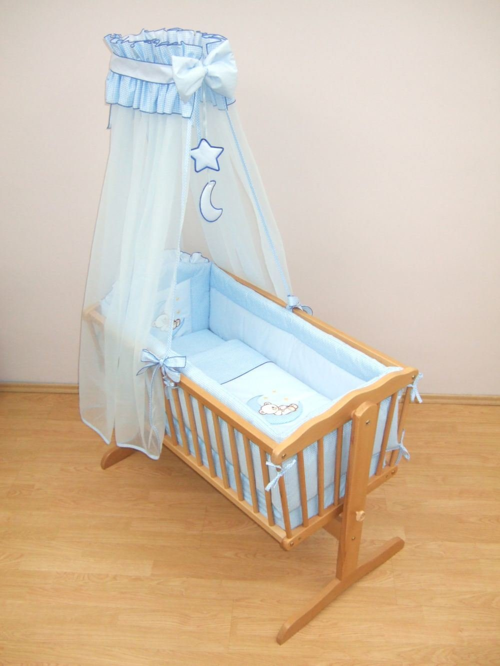 10 Piece Nursery Crib Bedding Set 90x40cm Fits Rocking/Swinging Cradle (Bear Moon Blue) Baby Comfort