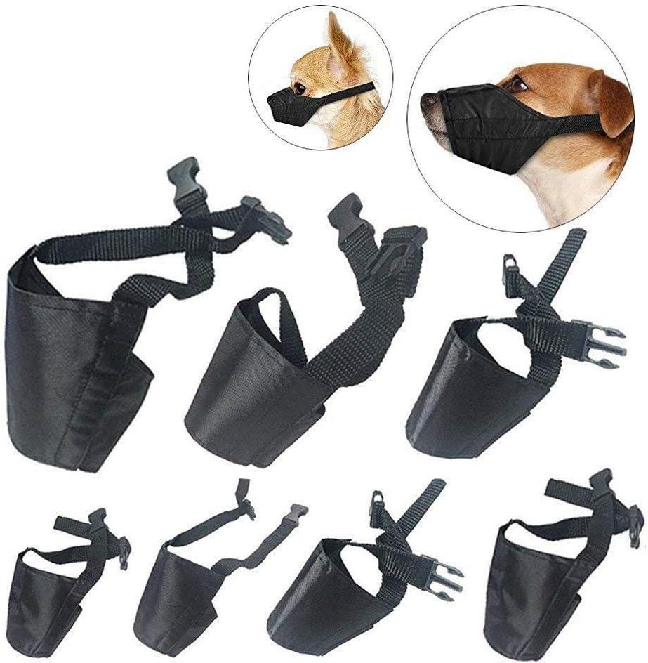 XZANTE Traje de Bozales de Perro,7 Pcs Ladrido Anti-Mordaz Bozales para Mascotas Ajustable Bozal Cubierta de La Boca para Perro para Perro Peque?o Mediano Grande Extra - Negro