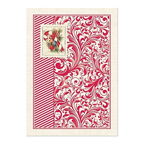 Michel Design Works Candy Cane Cotton Kitchen Towel, Red (Paisley Dish Cotton)
