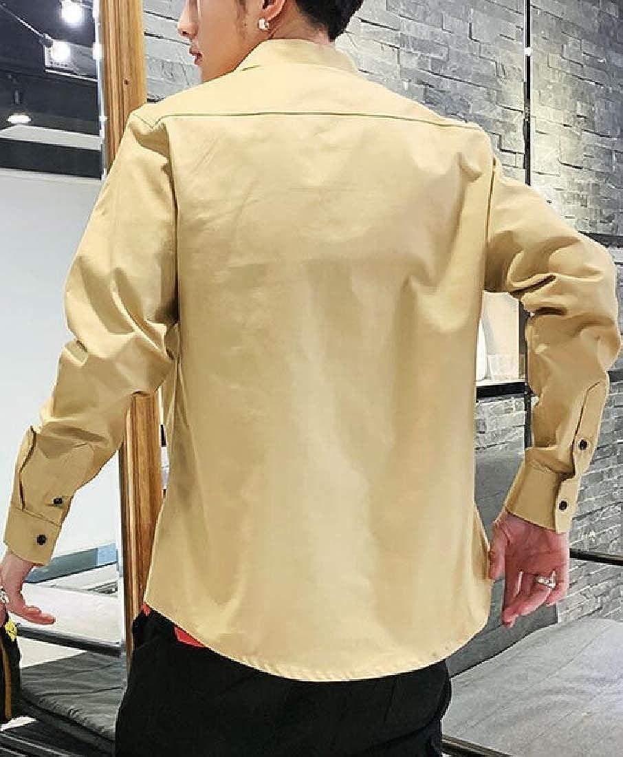 YONGM Mens Slim Fit Long Sleeve Button Down Cotton Shirt Tops Blouses