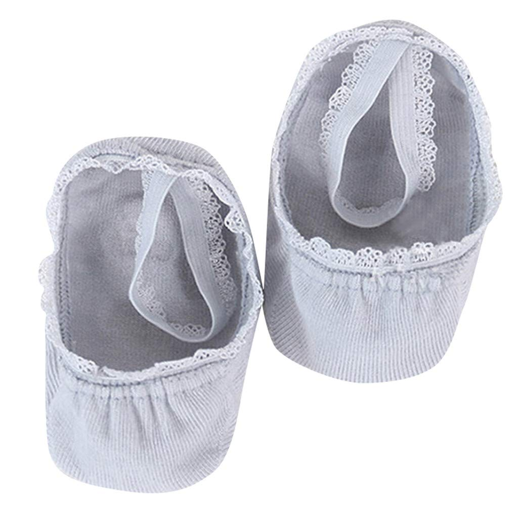 Lace Ankle Socks Boat Socks First Walker Shoes For Newborn Baby Girls Toddler Cotton Deodorant Hygienic Socks 1-8 Years (Gray, 3/5T)