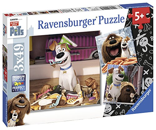 (Ravensburger The Secret Life of Pets 3 Pack Puzzle 49 Piece Jigsaw Puzzles for Kids - Every Piece is Unique, Pieces Fit Together Perfectly)