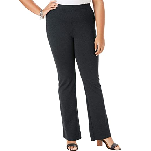 Roamans Women s Plus Size Petite Ultimate Ponte Bootcut Pant - Heather  Charcoal 27836992b00