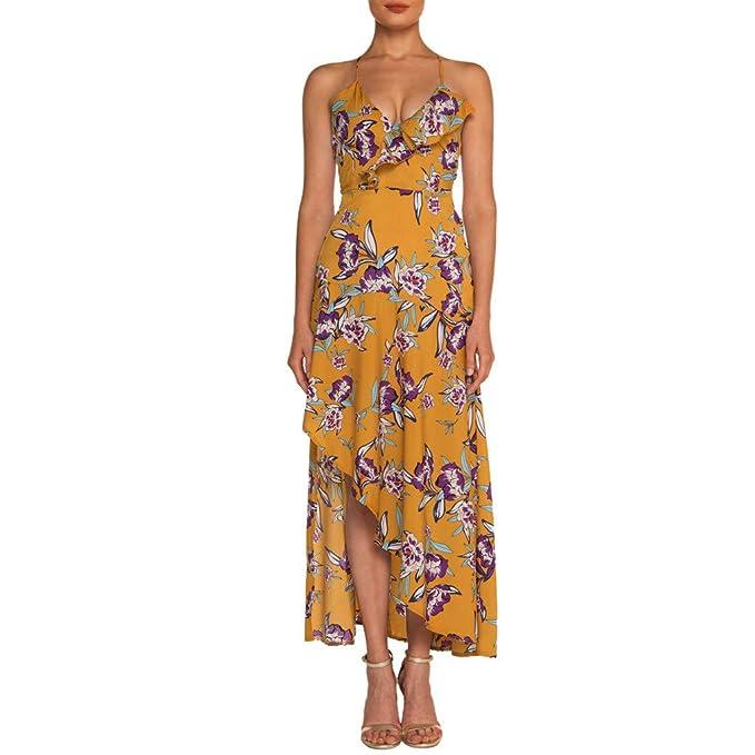 Vestido Largo Largo con Estampado Floral Tropical con ...