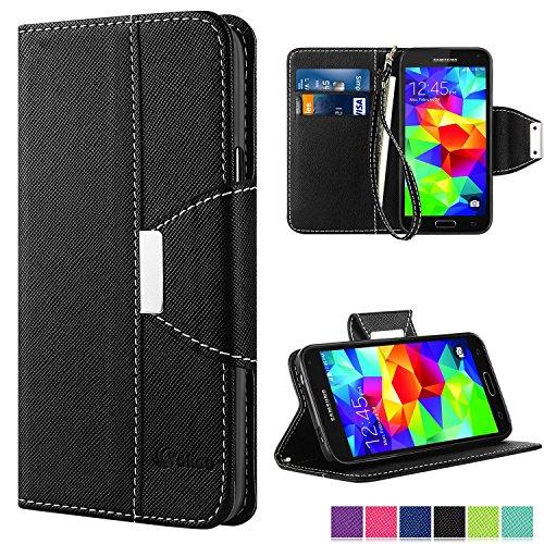 Galaxy S5 Hülle, Vakoo Bookstyle Handyhülle Premium PU-Leder Tasche Flip Case Brieftasche Etui Schutz Hülle für Samsung Galaxy S5 / S5 Neo (Schwarz)
