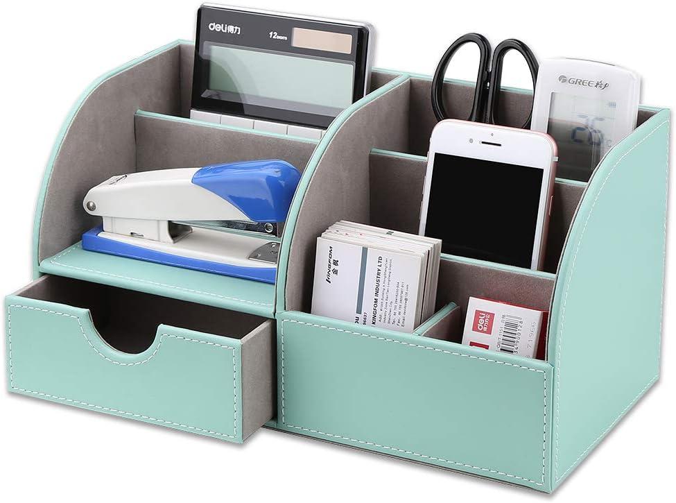 KINGFOM Office Desk Organizer - Multifunctional PU Leather Desktop Storage Box - Business Card/Pen/Pencil/Mobile Phone/Stationery Holder (Half PU-Mint Green)